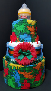 Dinosaur themed diaper cake