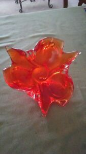 Hand Blown Glass Bowl Stamped (Damaged - Chip on base)
