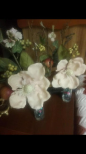 Table Centerpieces: Two Vases w/ White Flower - Home Decor