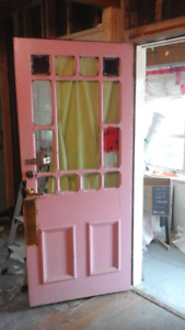 Vint original victorian grand front & french door w pine jambs