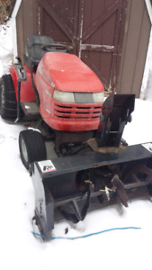Riding mower with snow blower