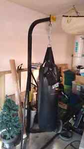 Everlast punching bag and stand with UFC gloves London Ontario image 1