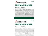 6 Cineworld tickets. Lasts a year!