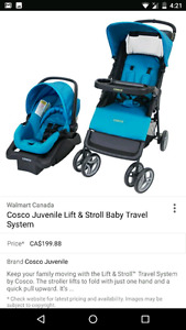 Blue cosco stroller and carseat/base