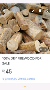 100 %  DRY FIREWOOD FOR SALE $145 In Cranbrook,Creston and Area