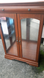 Glass Display Cabinet with Drawer