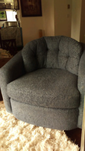 Comfy blue swivel chair