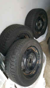 Winter tires on rims 205-60-16