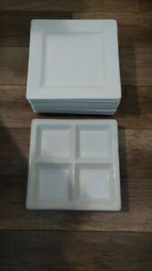 12 White Dishes In Excellent Condition.