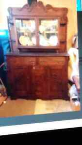 EARLY 1900'S OAK SIDEBOARD &  ANTIQUE CUPBOARD