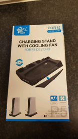 Ps5 cooling fan station with control charging dock