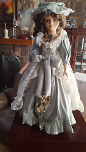 Victorian Porcelain Doll - 18 in tall - on stand - $25.00