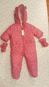 Brand New 6 to 9 Months Pink Winter Baby Suit