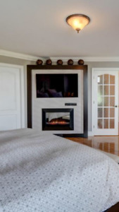 Built-in bed and tv and fire place unit