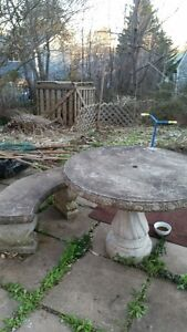Concrete table and two benches