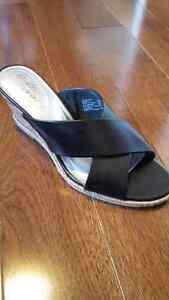 Black Cork Wedge Sandals Sz. 8