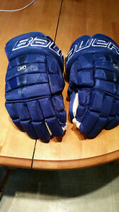 "BAUER NEXUS N9000 NAVY BLUE 14"" HOCKEY GLOVES"
