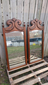 2 large real wood mirrors