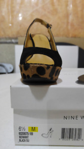 NINE WEST High Heel Shoes Suede/Patent Leather Leopard - NEW