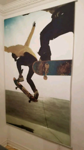 "Pottery Barn Teen Skateboarder Murale Canvas 48 "" W x 72"" H"