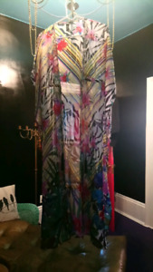 Gorgeous sheer tropical tassel cover up robe, kaftan, kimono