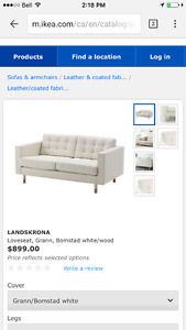 IKEA white leather couch