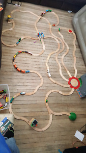 Thomas the train stations, tracks, and various trains