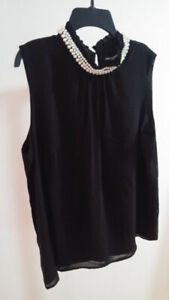 Faux Pearl Collar Sleeveless Blouse L