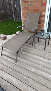 Reclining lawn chair and table