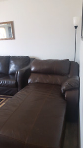 Brown leather couch.