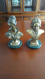 2 Laquered Brass Busts