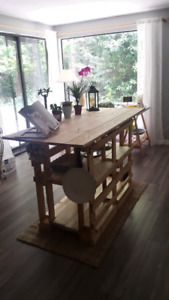 Handmade Kitchen Island from recycled wood pallets