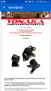 Kit support à moteur yonaka  civic 96-00 b-series **neuf***