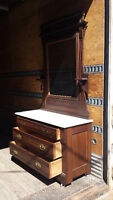 Antique Eastlake Dresser, with Mirror and Marble Top