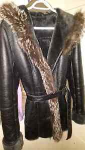 Small leather real fur coat REDUCED