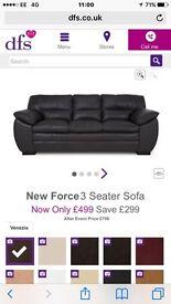 DFS leather black sofa
