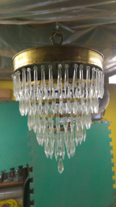 Brass and prism chandelier