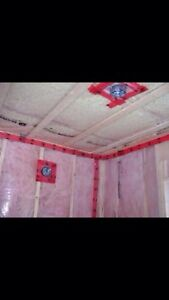 Insulation, poly & drywall