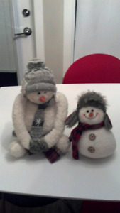 Two snowman decorations