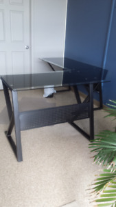 Glass top and Metal Desk