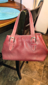 Small Root' Burgundy leather purse, excellent condition $50