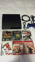 PS3 Slim 160 GB Hard Drive, Wireless Controller, and 6 Games!