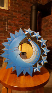 Blue Moon and Stars wood mirror