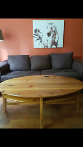 Couch, corner cabinet, and coffee table