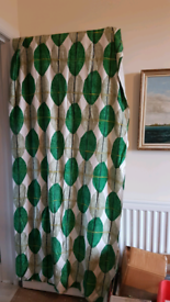 LARGE 50S 60S STUNNING ABSTRACT GEOMETRIC CURTAINS FABRIC MATERIAL