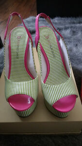 Just Fab green and pink heels size 7
