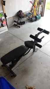 Olympic Weight set (bumper) + Heavy duty adjustable bench London Ontario image 2