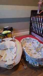 Fisher price bouncey chair and baby basket bassinet