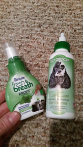 Dog breath drops and ear cleaner