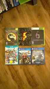 6 assorted games (PS4, Xbox/360, Wii U) for trade only